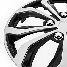 "[Set of 4] Chevy 16"" Spyder Snap/Clip-on Wheel Covers Hubcaps Case Silver/Black"