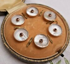 More details for antique set 6 mother of pearl & rose gold dress buttons with ruby centre boxed