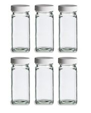 Nakpunar 6 pcs 4 oz Glass Spice Jars with Shaker and White Lid - French Square