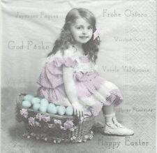 2 Serviettes en papier Fillette Pâques Sagen Vintage Paper Napkins Easter Girl
