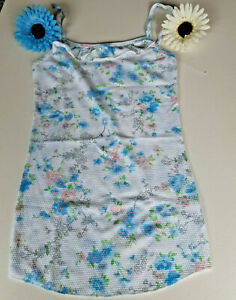 **Soft -White- Blue Floral -Singlet -Top Cotton Polyester - Size 10-12 //