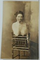 Rppc Victorian Woman Seated for Portrait Real Photo c1915 Postcard N9