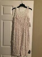 Women White Flower Sleeveless Dress Size 6
