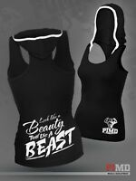 PIMD Women Vest With Hood - Black Sports Vest Fitness Workout Gym Yoga Tank Top