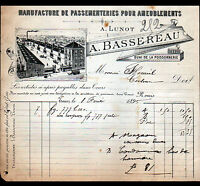 """TOURS (37) USINE de PASSEMENTERIES pour AMEUBLEMENT """"LUNOT / BASSEREAU"""" en 1895"""