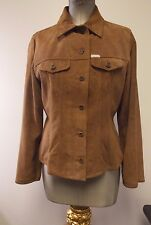 Stunning FACONNABLE Saddle Brown Suede Goatskin Leather Ladies Jacket Size M