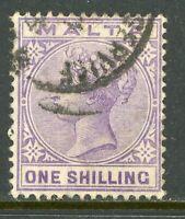 Malta 1885 QV 1' Violet Scott #13 VFU A341 ⭐⭐⭐