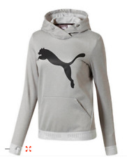 NWT PUMA Women Size S Active Urban Big Cat Hoodie Sweater in Light Gray Heather