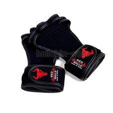 WORKOUT GLOVES BLACK Professional GYM Fitness Lifting Wristwrap Straps Training
