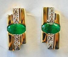 NATURAL EMERALD EARRINGS GENUINE DIAMONDS 14K 585 GOLD STUDS GIFT BOXED NEW