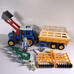 Playmobil Vintage Tractor Trailer Plough Tiller Tools Farmer Bundle Farm Country