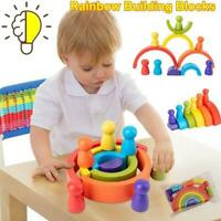 Rainbow Wooden Baby Toys Building Blocks Wood Educational For Kids Toys P4E7