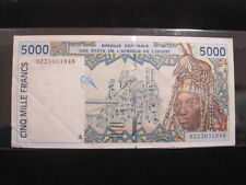 WEST AFRICA STATES 5000 FRANCS 1992 P113Aa IVORY COAST 88# BANKNOTE PAPER MONEY