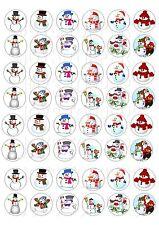 "Feliz Navidad no 4 Cake Topper Redondo Glaseado Comestible 7.5/"" 8 Cupcake Topper"