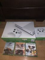 Xbox One S - 500GB, White With two controllers and three games