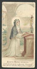 Estampa antigua de Santa Rosa de Lima santino holy card image pieuse