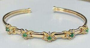 9CT solid gold & Emerald cuff Bangle 8.72g