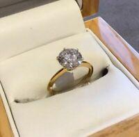 1.2 Carat Brilliant Round Cut Diamond Engagement Ring Set In 9K Yellow Gold Fn