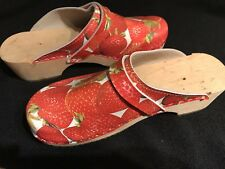 Authentic Rare Retro Ladies Clogs - Strawberry Pattern - Boho With A Twist!