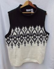 LIz Claiborne Sleeveless Sweater Knit Black Ivory Argyle Woman XL