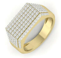 3.92CT NATURAL ROUND DIAMOND 14K SOLID YELLOW GOLD RING FOR MEN IN SIZE 9 TO 11