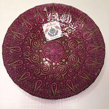"NEW Anatolia Large Centerpiece Handmade 16"" Bowl Purple/Gold Made In Turkey"
