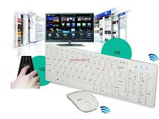 White Slim 2.4G Optical Wireless Keyboard+Optical Mouse USB Receiver Kit For PC