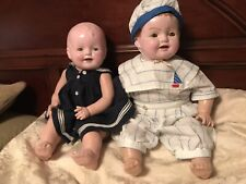1930's  Pair Antique Composition Mama dolls 24""