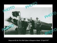 OLD POSTCARD SIZE PHOTO OF KINGSCOTE KANGAROO ISLAND 1st AIRMAIL FLIGHT 1937