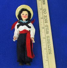 Vintage Souvenir Pocket Doll Plastic w/ Movable Arms Legs Black Hair Felt Pants
