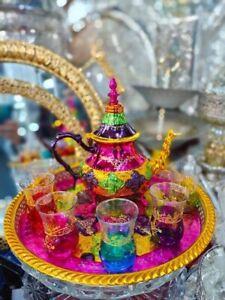 Moroccan Handmade Multicolore Tea Set, 6 Cup Teapot , Tea Tray 100% Handmade NEW