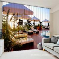 3D Sea Terrace Blockout Photo Curtain Printing Curtains Drapes Fabric Window AU
