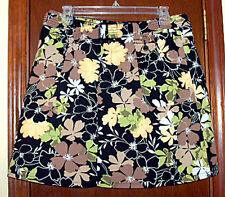 Black Floral Cotton Blend Skort (shorts under skirt) w/Stretch & Belt Cargo-10