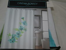 New Cynthia Rowley Floral Fabric Cotton  Shower Curtain 72x72 ~ Blue Flowers NIP