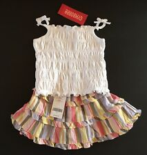 NWT Gymboree Glamour Safari 6-12 Months White Smocked Top & Striped Skirt