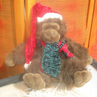 "Christmas Santa Stuffed Ape 12"" Brown Fuzzy Red Crushed Velvet Hat Scarf Bear"