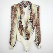 Women's BEBE Snake Skin Long Sleeve Wrap Bodysuit Size Large Cream New NWT