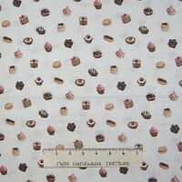 Fabric Traditions - Desserts Cookie Cupcake Beige with Glitter - YARD