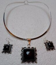 Mexican Jewelry Alpaca Black Onyx Necklace / Earrings Set Sterling Silver Choker