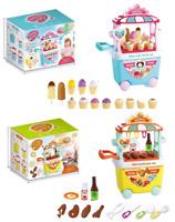 Girls Kids Children Role Play Ice Cream BBQ Shop Dessert Cart Set Learning Toys