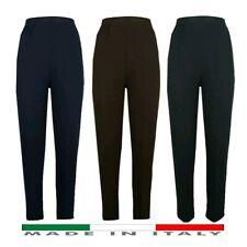 Pantalone Donna Vita Alta Con Elastico Cotone Elegante Casual S M L XL XXL XXXL
