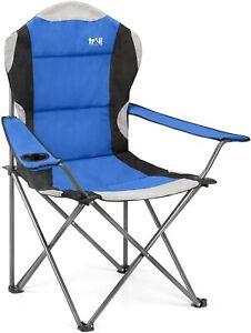 Camping Chair 325lbs Folding Heavy Duty Luxury Padded Hard Arm Blue Pink Purple