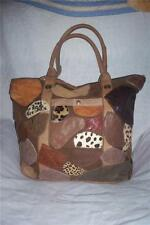 TAN LEATHER BAG/PURSE WITH ANIMAL PRINT PATCH TRIM. NWT.