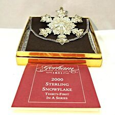 2000 Gorham Sterling Silver Snowflake Christmas Ornament with Original Box and P