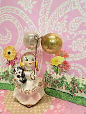 Vtg Ardalt Shopper Southern Belle Girl With Puppy Dog & Gold Silver Balloons