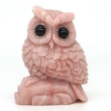 "Owl Figurine 3.34"" Natural Stone Pink Opal Crystal Healing Reiki Statue Decor"