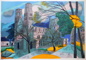 """Georges Lambert """"Jumieges"""" Limited Edition Lithograph Hand Signed"""