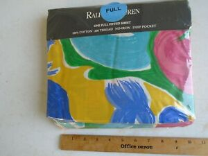 Vintage Ralph Lauren  Full Fitted Sheet Costa Paradiso NIP Cotton 200 TC