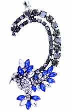 Beautiful hummingbird full ear cuff, studded with blue, clear and black crystal