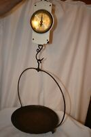 Antique Chatillon's Spring Balance Hanging Scale w/ Metal Basket Tray Kitchen